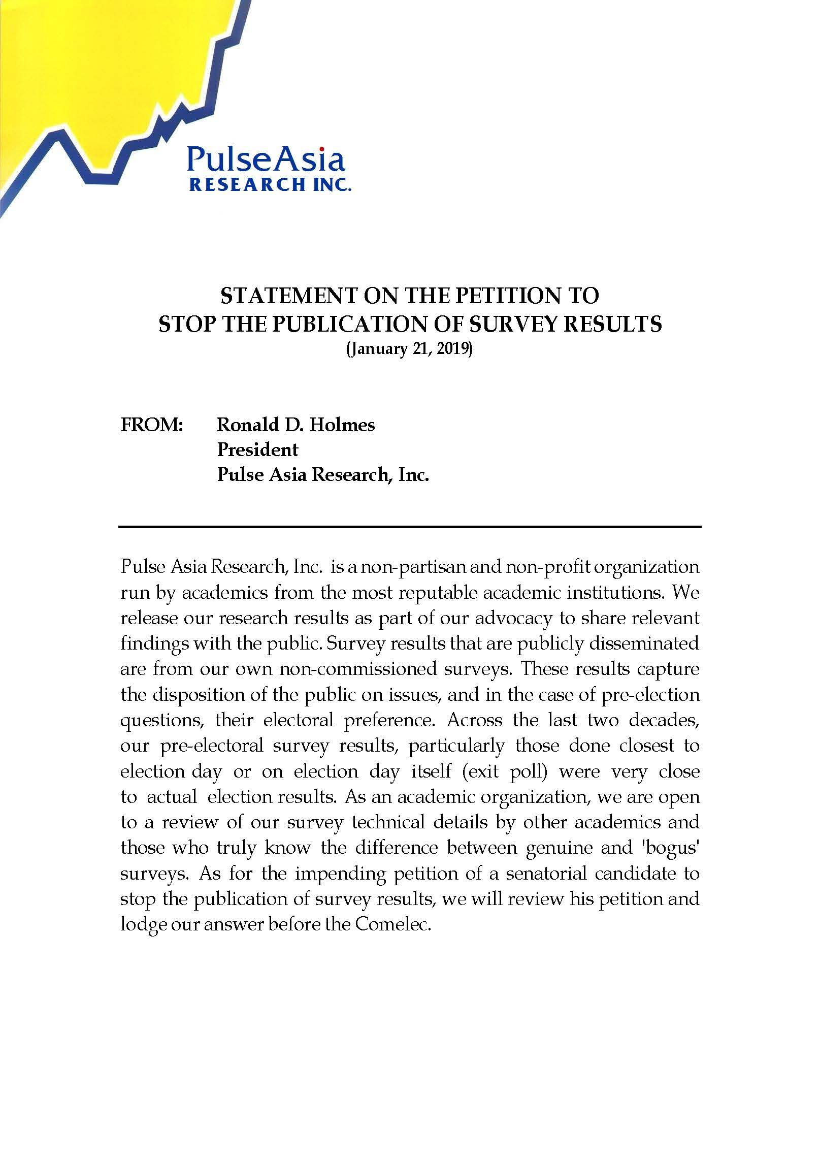 Statement on the Petition to Stop the Publication of Survey Results