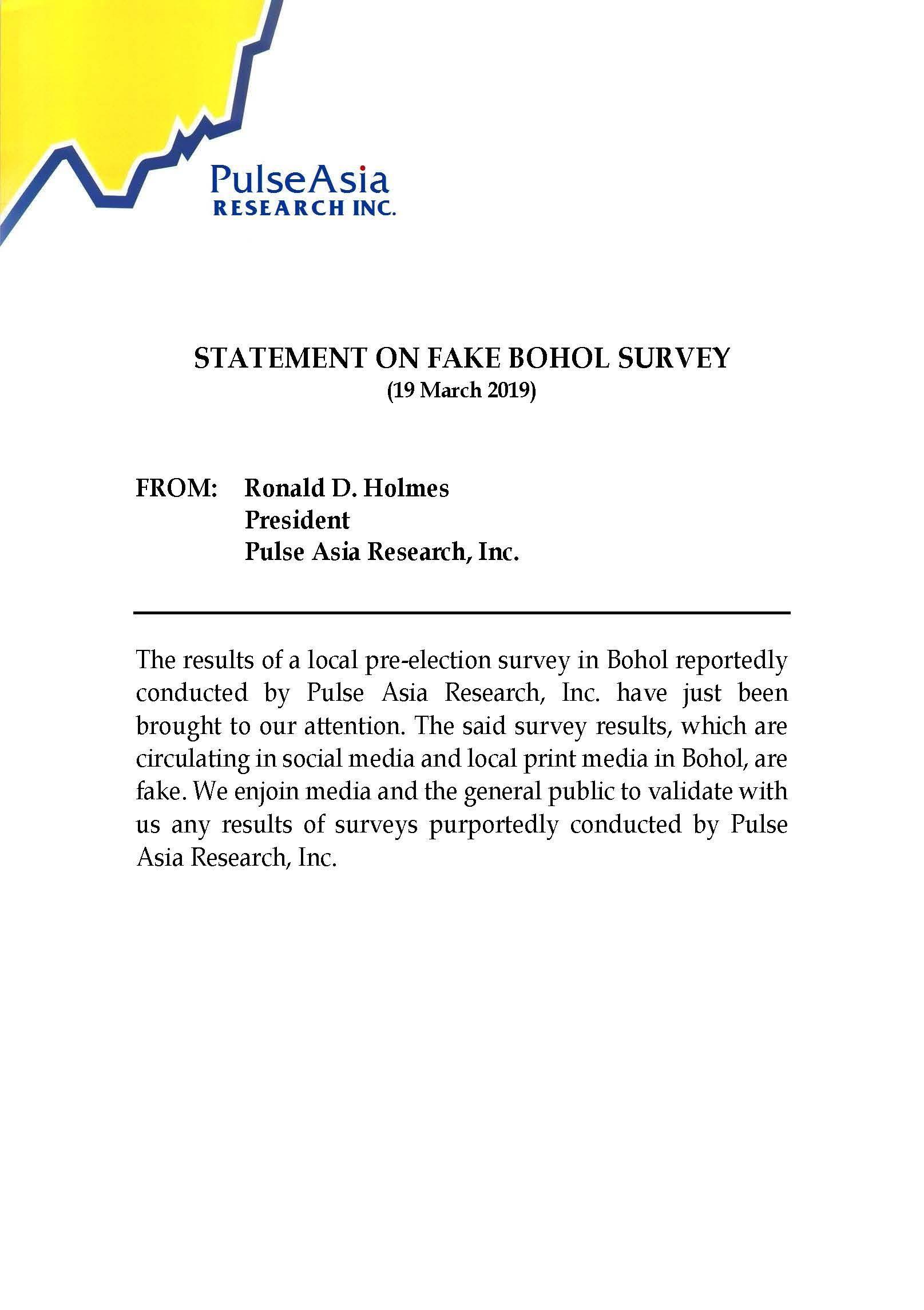 Statement on fake Bohol survey