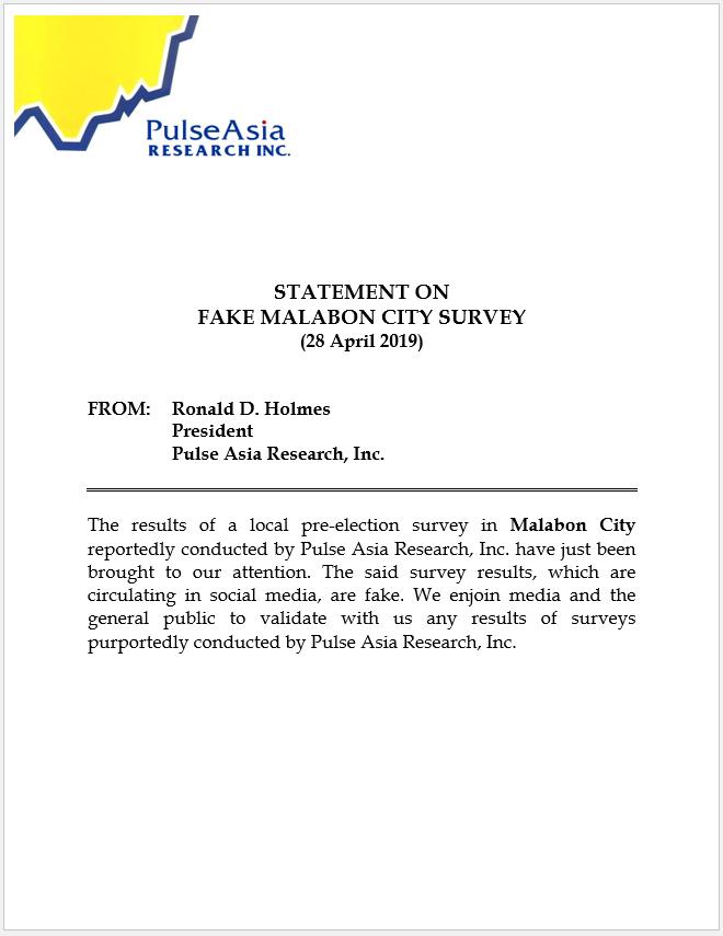Statement on Fake Malabon City Survey