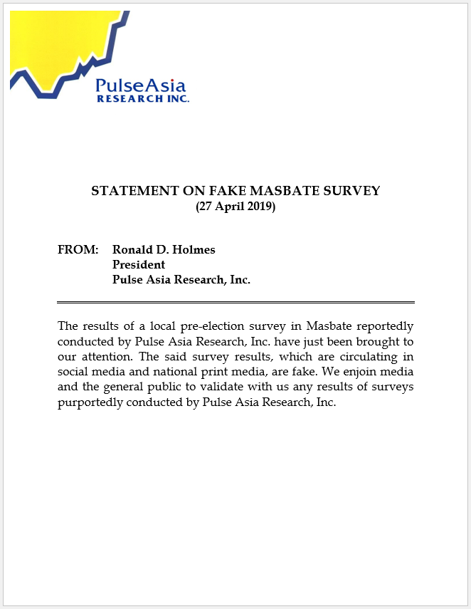 Statement on Fake Masbate Surveys