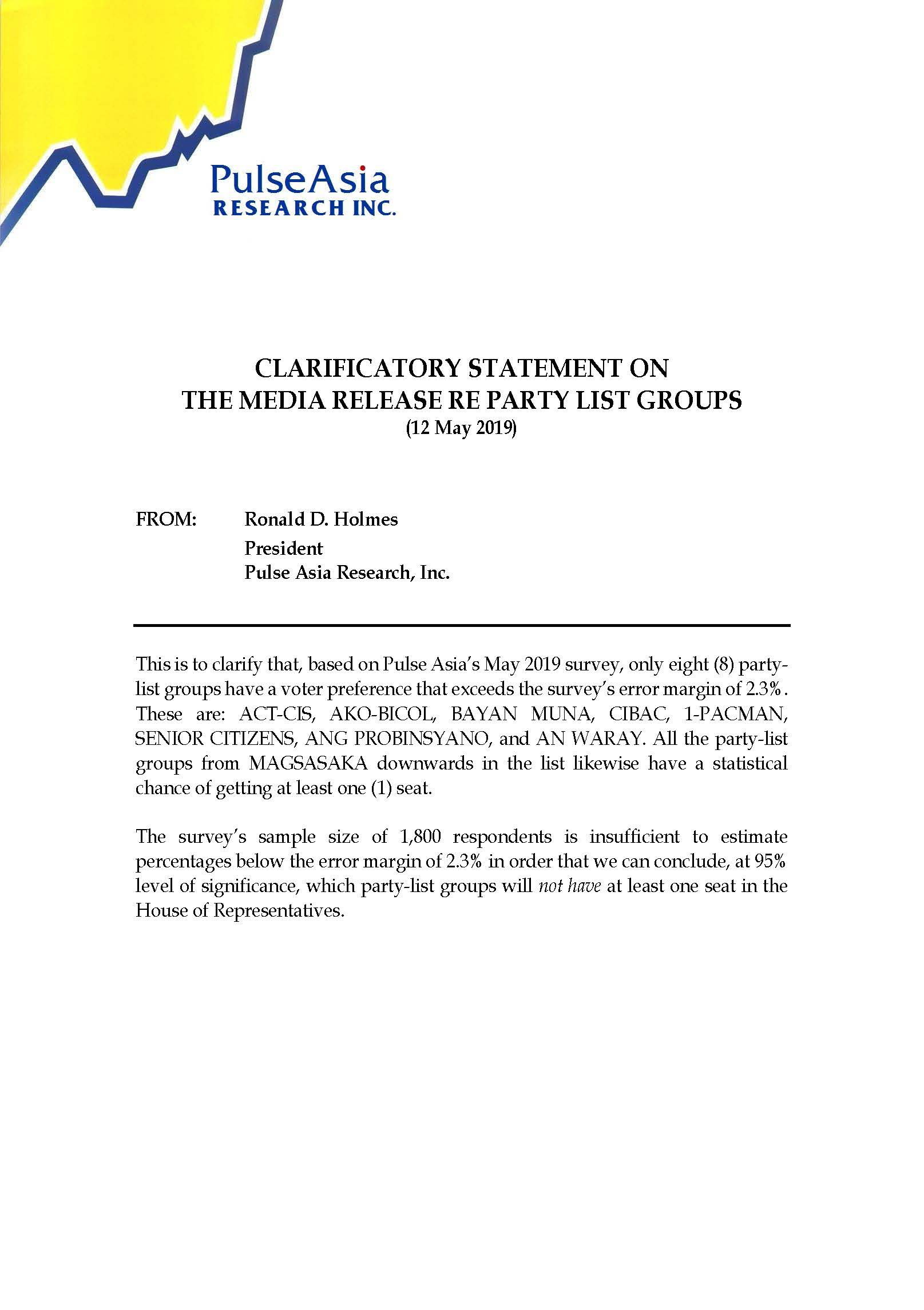 Clarificatory Statement on the Media Release Re Party List Groups