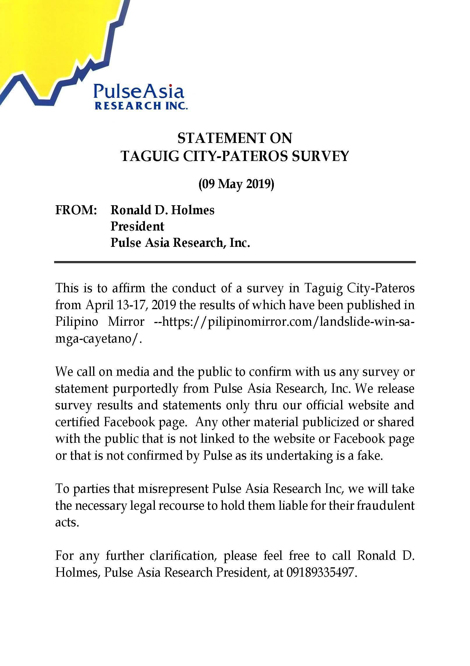 Statement on Taguig City-Pateros Survey